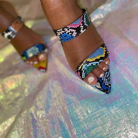 Multicolor Snakeskin Sandal Heels